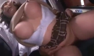 Bosomy cute japanese schoolgirl groped and squirting above a bus.