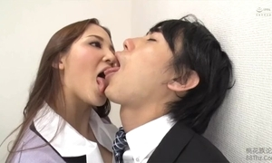Tongue kissed wide of femdom office lady