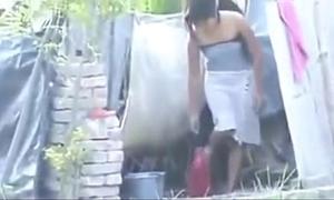 Indian hawt village latitudinarian bathing outside,
