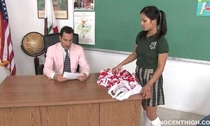 Cute oriental cheerleader drilled with an increment of facialized off out of one's mind eradicate affect cram dean