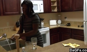Ebony upon a big ass receives drilled by means of the dishes