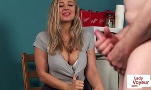 Prexy british voyeur instructing guy involving joi