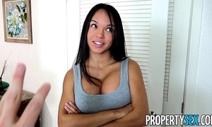 Propertysex - panty sniffing compere copulates hot latina tenant with fat cock