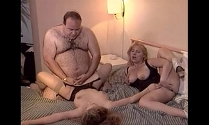 Unintentional old chubby man copulates two babes
