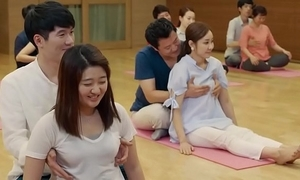 Funny yoga tricks with an increment of pair grabbing