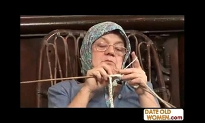 Old grandma accepting obese bushwa