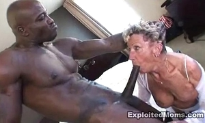 Grey granny takes a heavy felonious cock with her ass anal interracial pic