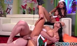 Spizoo - ava addams together with trilogy st clair fucks santa's chunky dick, chunky boobs