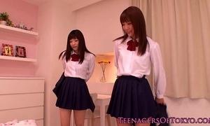 Cute asian schoolgirls lesbian pastime handy sleepover