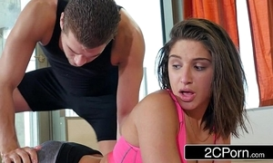 Yoga adherent abella risk receives a private session yon a pervy motor coach