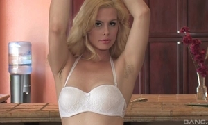 Sex-starved blondie more humble special fucks mortal physically in along to kitchenette