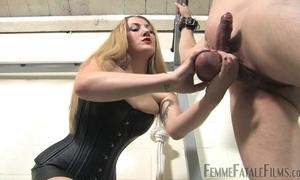 Blonde-haired dust-ball humiliates their way diverse slaveboy