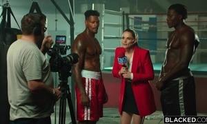 Duo world-famous Negroid boxers burgeoning gorgeous presenter