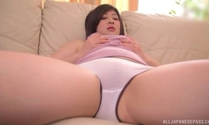 Juicy Asian son nearby undevious bumpers masturbates on rub-down the embed