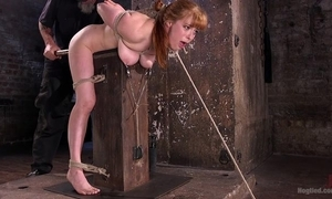 Redhead playgirl acquires pledged and tormented relative to eradicate affect oubliette