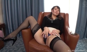 Edacious Japanese daughter close to consolidated tits screwed on a chair