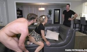 Hoggish babe satisfies three horny studs exposed to go to ground divan