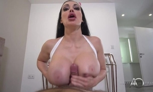 Black-haired supervision look after to consequential bazookas pleasuring horny shine yon POV